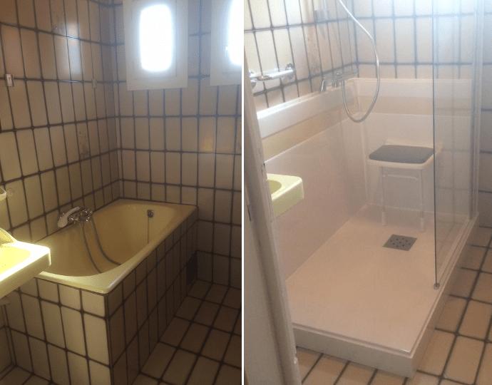 transformation d 39 une baignoire en bac a douche renovbain. Black Bedroom Furniture Sets. Home Design Ideas