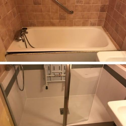 Transformation d 39 une baignoire en douche dans le 5 me - Transformer une baignoire en douche ...
